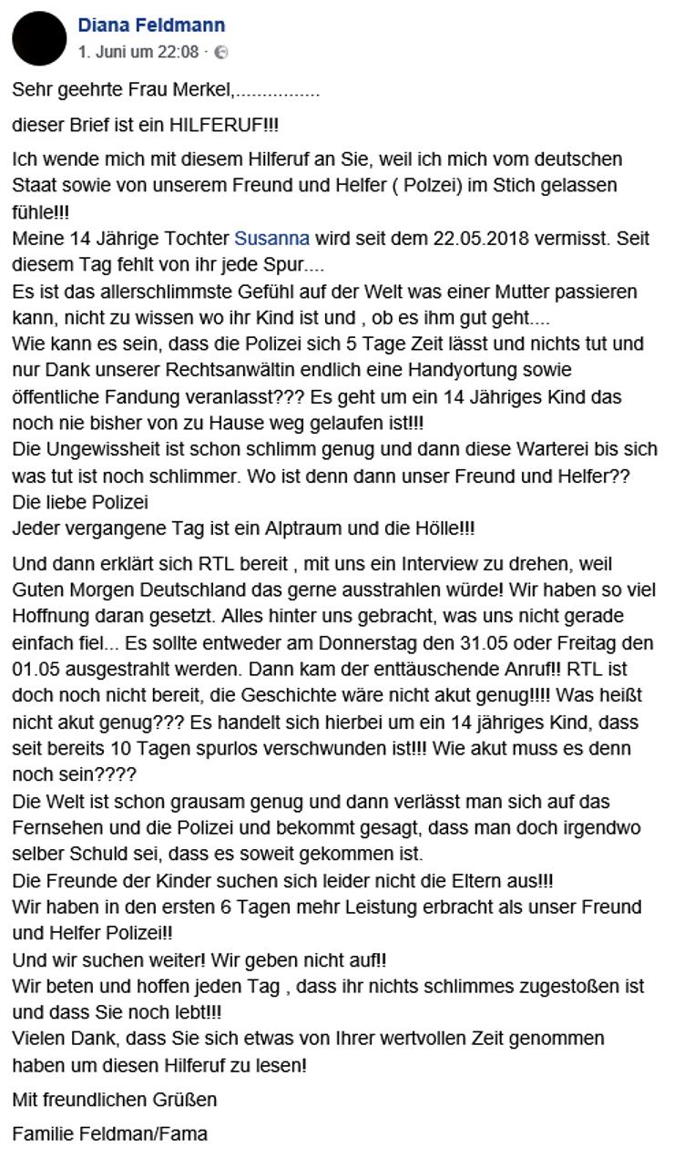 Hilferuf Diana Feldmann an Angela Merkel